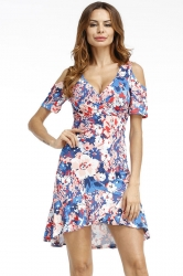 Womens Sexy Deep V-Neck Floral Cold Shoulder Skater Dress Blue