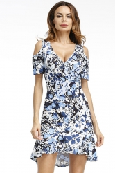 Womens Sexy Deep V-Neck Floral Cold Shoulder Skater Dress Navy Blue