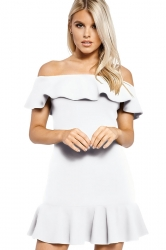Womens Sexy Off Shoulder Ruffle Hem Plain Tube Dress White