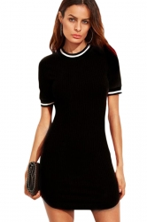 Womens Slimming Short Sleeve Stripe Bodycon Dress Black