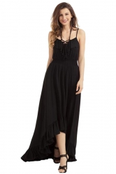 Womens Lace Up V Neck Ruffle Trim Hi-Low Maxi Dress Black