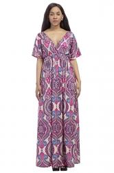 Womens Sexy Deep V-Neck Printed Plus Size Maxi Dress Purple