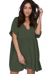 Womens Casual V-Neck Short Sleeve Smock Dress Army Green