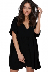 Womens Casual V-Neck Short Sleeve Smock Dress Black