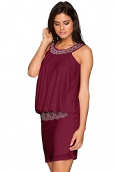 Women Elegant Halter Beaded Slimming Sleeveless Dress Ruby