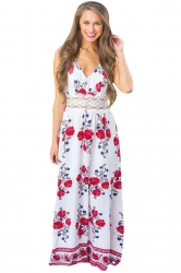 Womens Sexy Halter Open Back Floral Printed Maxi Dress White