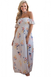 Womens Floral Print Elastic Bandeau Top Off Shoulder Maxi Dress White