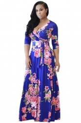 Womens 3/4 Sleeve Wrap Floral Print Tie Waist Maxi Dress Blue