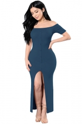Womens Sexy Off Shoulder High Slits Knitted Clubwear Dress Blue