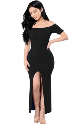 Womens Sexy Off Shoulder High Slits Knitted Clubwear Dress Black