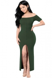 Womens Sexy Off Shoulder High Slits Knitted Clubwear Dress Green