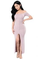 Womens Sexy Off Shoulder High Slits Knitted Clubwear Dress Pink