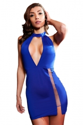 Womens Sexy High Slits Hater Cut Out Backless Clubwear Dress Sapphire Blue