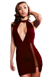 Womens Sexy High Slits Hater Cut Out Backless Clubwear Dress Ruby