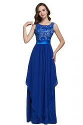 Womens Lace Patchwork Sleeveless V-Neck Back Maxi Dress Blue