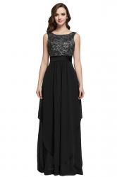 Womens Lace Patchwork Sleeveless V-Neck Back Maxi Dress Black