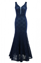 Womens Sexy Lace Mermaid See Through Maxi Evening Dress Navy Blue