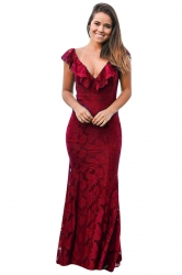 Womens Deep V-Neck Lace Ruffle Fishtail Slimming Evening Dress Ruby