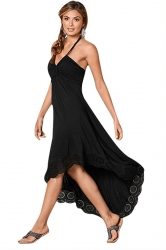 Womens Sexy Halter Deep V-Neck Backless High Low Evening Dress Black
