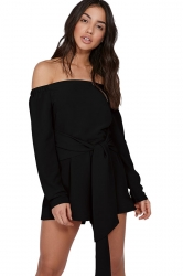 Womens Sexy Off Shoulder Long Sleeve Bandage Belt Romper Black