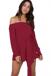 Womens Sexy Off Shoulder Long Sleeve Bandage Belt Romper Ruby
