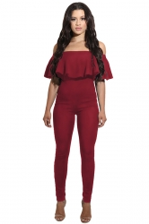 Womens Sexy Ruffle Off Shoulder High Waist Jumpsuit Ruby