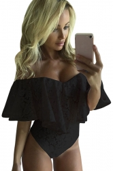 Womens Sexy Off Shoulder Ruffle Lace Bodysuit Black