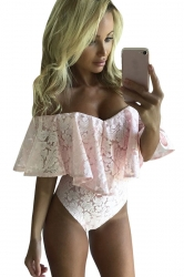 Womens Sexy Off Shoulder Ruffle Lace Bodysuit Pink