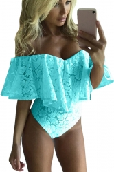 Womens Sexy Off Shoulder Ruffle Lace Bodysuit Turquoise