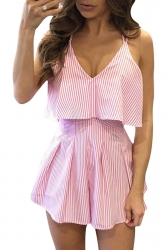 Womens Deep V-Neck Straps High Waist Stripes Backless Romper Pink