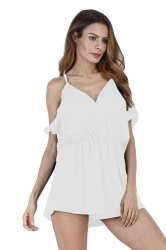 Womens Sexy Halter Cold Shoulder Ruffled Hollow Out Romper White