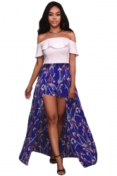Womens Sexy Frill Off Shoulder Chiffon Maxi Romper Dress Blue