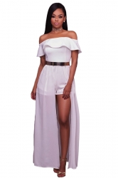 Womens Sexy Frill Off Shoulder Chiffon Maxi Romper Dress White