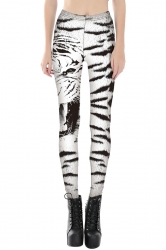 Womens Slimming Zebra Stripe Printed Cropped Leggings White