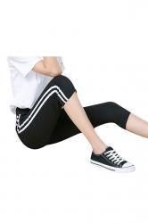 Womens White Vertical Stripe High Waist Cropped Leggings Black