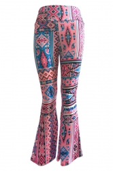 Womens Casual Printed High Waist Flared Pants Dark Red