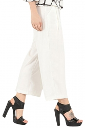 Womens Casual Wide Legs Cropped Pants White