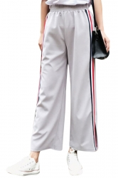 Womens Casual Stripes Wide Legs Side Slits Pants Gray