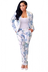 Womens Classic Printed Slimming Two Pieces Suit Blue