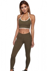 Womens Sexy Halter Top&Long Sports Leggings Sports Suit Army Green