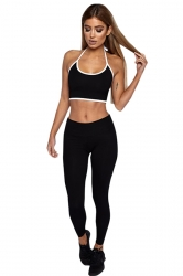 Womens Sexy Halter Top&Long Sports Leggings Sports Suit Black