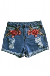 Womens High Waist Cut Out Flower Embroidered Jeans Shorts Blue