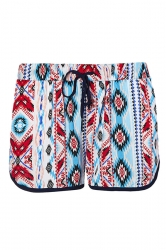 Womens Geometrical Printed Draw String Shorts Ruby