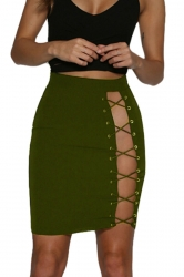 Womens Sexy Fitting Lace-Up Pencil Skirt Army Green
