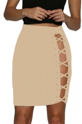 Womens Sexy Fitting Lace-Up Pencil Skirt Apricot