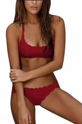 Womens Wavy Edge Halter Two-pieces Bikini Red