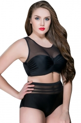 Womens Sexy Plus Size High Waist Mesh Patchwork Bikini Black