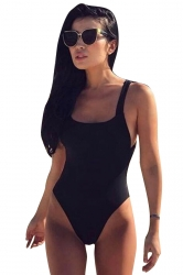 Womens Sexy Crisscross Bandage Open Back One Piece Swimwear Black