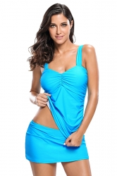 Womens Conservative Solid Ruched 2Pcs Tankini Skirted Swimsuit Blue