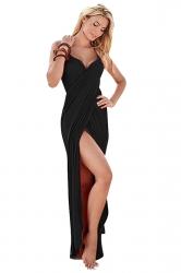 Womens Sexy Greek Goddess Spaghetti Strap Sarong Beachwear Black